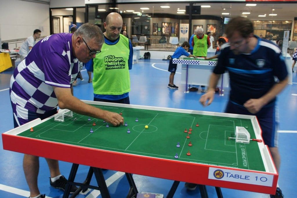 Steve Dettre, president of FISTF, plays Subbuteo.